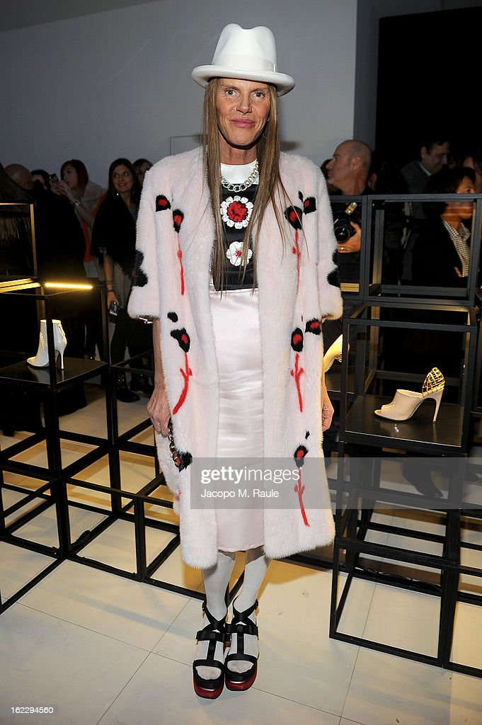 Anna dello Russo attends the Sergio Rossi presentation cocktail during Milan Fashion Week Womenswear Fall/Winter 2013/14 on February 21, 2013 in Milan, Italy.
