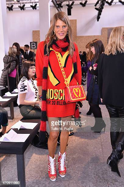 Anna Dello Russo attends the Sportmax Show as part of Milan Fashion Week Womenswear Autumn/Winter 2014 on February 21 2014 in Milan Italy
