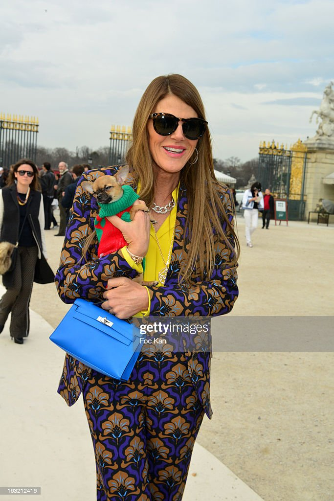 Anna Dello Russo attends the Valentino Ð Outside Arrivals - PFW F/W 2013 at the Espace Ephemere des Tuileries on March 5, 2013 in Paris, France.