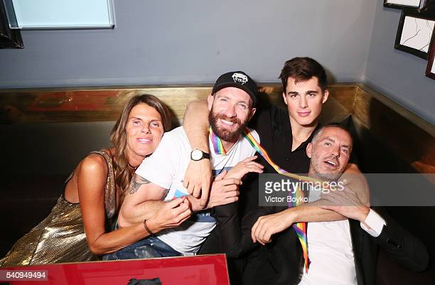 Anna Dello Russo Giampaolo Sgura Pietro Boselli and Dean Caten attends Dsquared2 Aftershow Sunset Cocktail at Ceresio 7 on June 17 2016 in Milan Italy