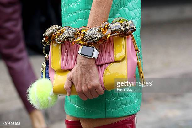 Anna Dello Russo handbag detail arrives at the Miu Miu show as part of the Paris Fashion Week Womenswear Spring/Summer 2016 on October 7 2015 in...