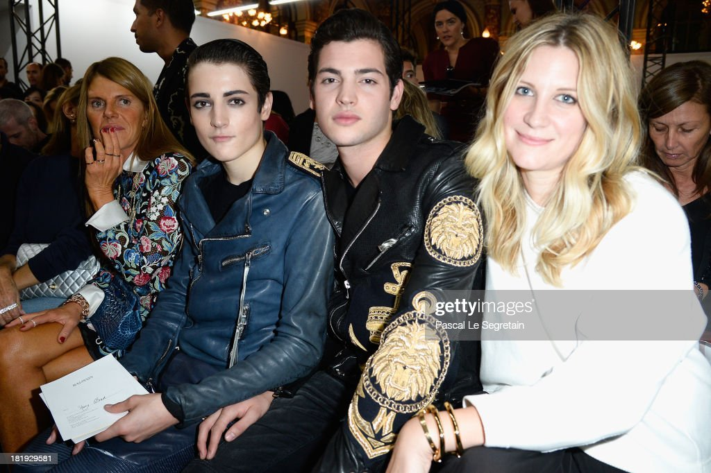 <a gi-track='captionPersonalityLinkClicked' href=/galleries/search?phrase=Anna+Dello+Russo&family=editorial&specificpeople=4391772 ng-click='$event.stopPropagation()'>Anna Dello Russo</a>, Harry Brant, Peter Brant Jr and a guest attend the Balmain show as part of the Paris Fashion Week Womenswear Spring/Summer 2014 at Grand Hotel Intercontinental on September 26, 2013 in Paris, France.