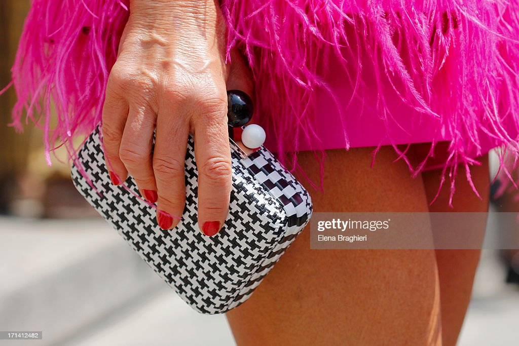 Anna Dello Russo (detail) is seen at Milan Fashion Week Menswear Spring/Summer 2014 on June 23, 2013 in Milan, Italy