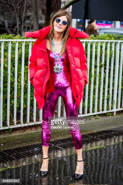 Anna Dello Russo is seen in the streets of Paris before the Balenciaga show during Paris Fashion Week Womenswear Fall/Winter 2017/2018 on March 5...