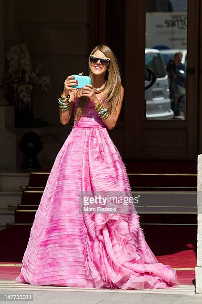 Anna Dello Russo is seen on the 'Place Vendome' during a photoshoot on July 2 2012 in Paris France