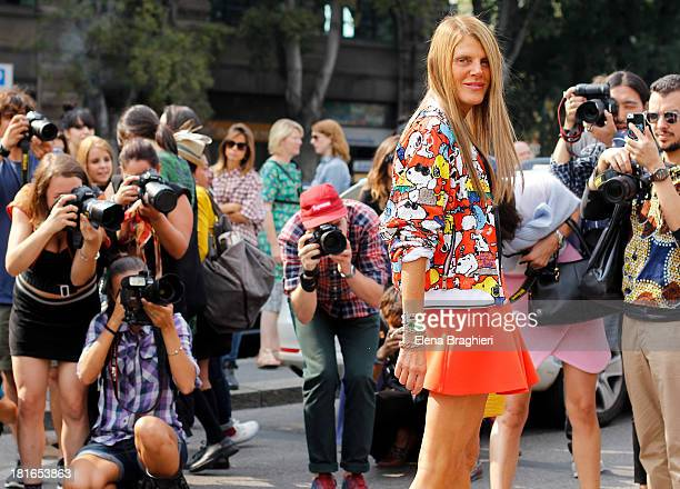 Anna Dello Russo is seen on the streets of Milan on September 21 2013 in Milan Italy She's wearing a Miu Miu dress Fendi bag