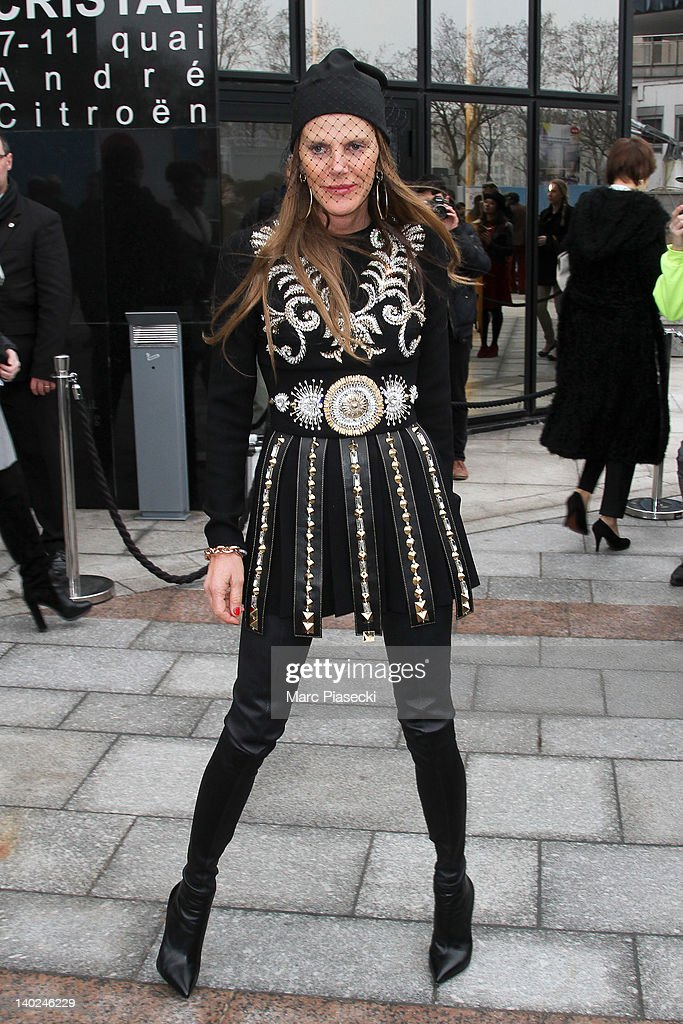 Anna Dello Russo leaves the Balenciaga Ready-To-Wear Fall/Winter 2012 show as part of Paris Fashion Week on March 1, 2012 in Paris, France.