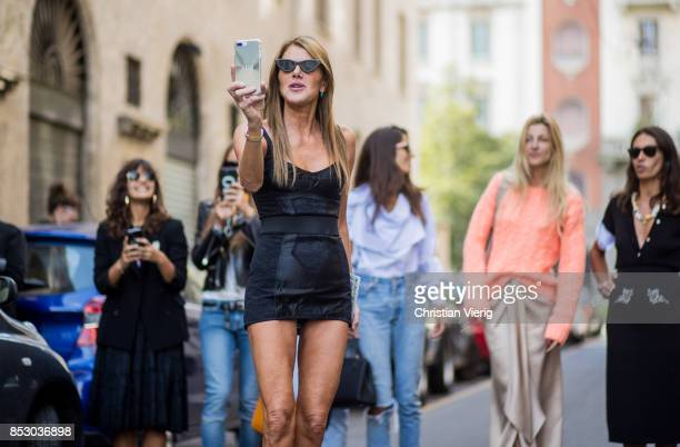 Anna Dello Russo seen outside Dolce Gabbana during Milan Fashion Week Spring/Summer 2018 on September 24 2017 in Milan Italy