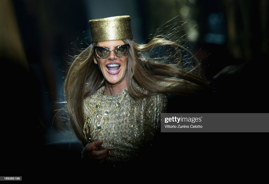 <a gi-track='captionPersonalityLinkClicked' href=/galleries/search?phrase=Anna+Dello+Russo&family=editorial&specificpeople=4391772 ng-click='$event.stopPropagation()'>Anna Dello Russo</a> walks the runway at amfAR's 20th Annual Cinema Against AIDS during The 66th Annual Cannes Film Festival at Hotel du Cap-Eden-Roc on May 23, 2013 in Cap d'Antibes, France.
