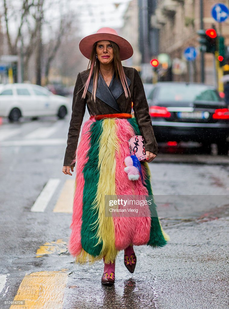 Anna dello Russo wearing a colorful Marni fur coat and a brown Marni jacket seen outside Marni during Milan Fashion Week Fall/Winter 2016/17 on...
