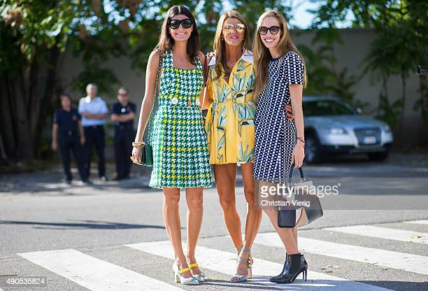 Anna dello Russo wearing Fendi and Giovanna Battaglia during Milan Fashion Week Spring/Summer 16 on September 24 2015 in Milan Italy
