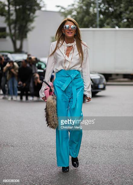 Anna dello Russo wearing Loewe and Dior sunglasses during Milan Fashion Week Spring/Summer 16 on September 28 2015 in Milan Italy