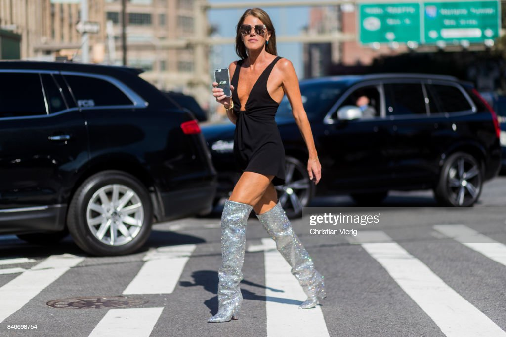 Anna dello Russo wearing YSL glitter boots seen in the streets of Manhattan outside Michael Kors during New York Fashion Week on September 13, 2017 in New York City.