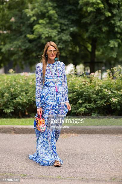 Anna Dello Russo wears Dolce Gabbana during Milan Men's Fashion Week Spring/Summer 2016 on June 20 2015 in Milan Italy