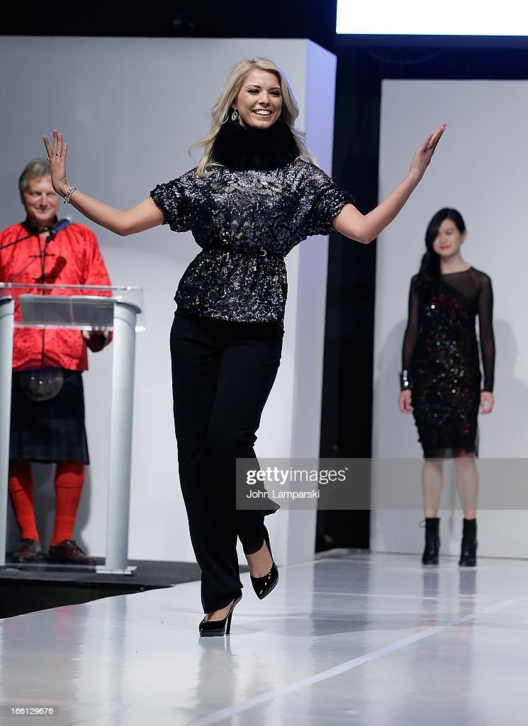 Anna Demidova Walks the runway displaying Vivienne Tam fashion at athe 2013 From Scotland With Love Charity Fashion Show at Stage 48 on April 8, 2013 in New York City.