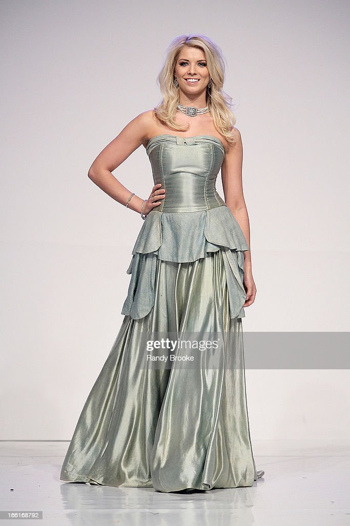 Anna Demidova walks the runway during the 2013 From Scotland With Love Charity Fashion Show at Stage 48 on April 8, 2013 in New York City.