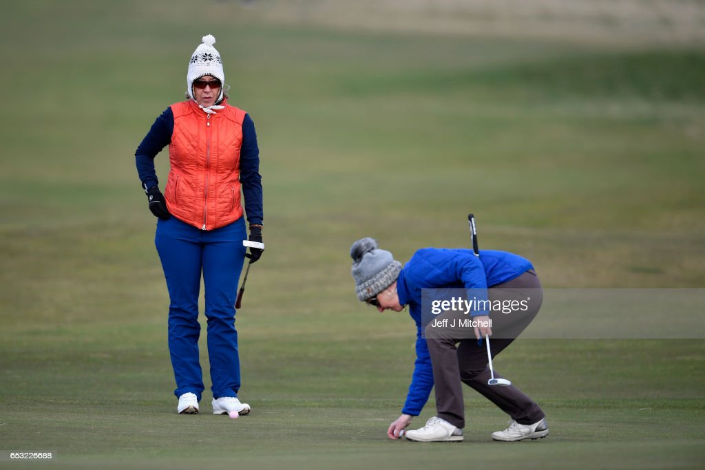 Anna Diertrich and Janet Siehnthiler from Switzerland play a round of golf at Muirfield Golf Club on March 14, 2017 in Gullane, Scotland. Muirfield golf club members have voted to admit women members after the privately owned club voted eighty percent in favour in updating the membership policy.