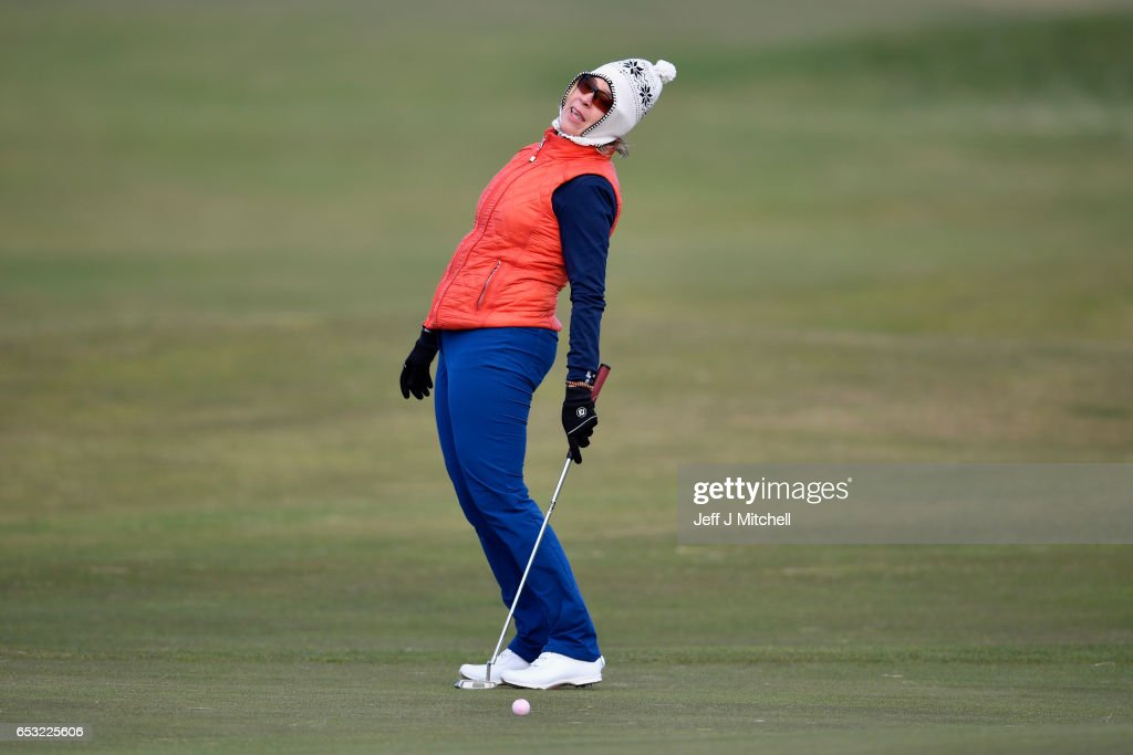 Anna Diertrich from SWwitzerland plays a round of golf at Muirfield Golf Club on March 14, 2017 in Gullane, Scotland. Muirfield golf club members have voted to admit women members after the privately owned club voted eighty percent in favour in updating the membership policy.