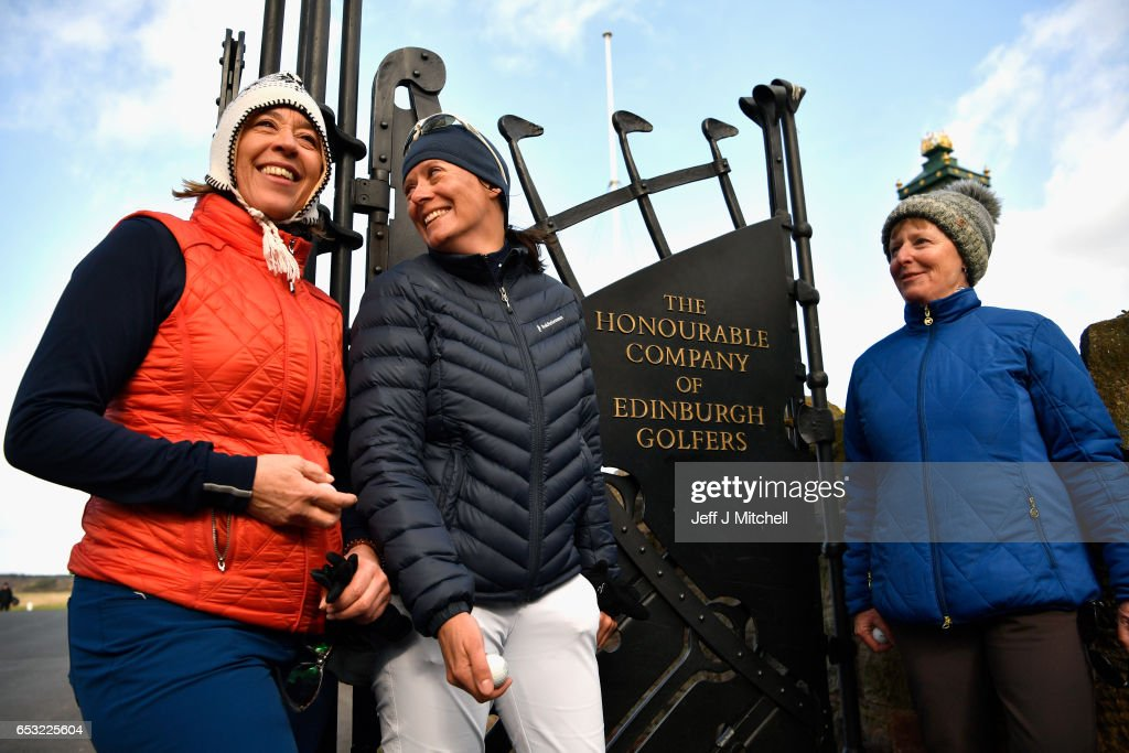 Anna Diertrich Pascale Reinhard and Janet Siehnthiler from Switzerland stand outside Muirfield Golf Club following their round of golfon March 14, 2017 in Gullane, Scotland. Muirfield golf club members have voted to admit women members after the privately owned club voted eighty percent in favour in updating the membership policy.