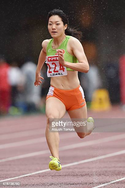 Anna Doi of Japan competes in the womens 100 meter preliminary heat during the 99th Japan Athletics National Championships at Denka Big Swan Stadium...
