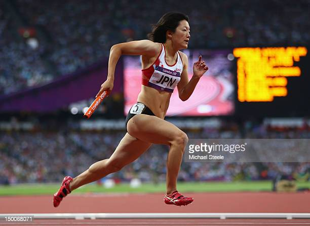 Anna Doi of Japan competes in the Women's 4 x 100m Relay Round 1 on Day 13 of the London 2012 Olympic Games at Olympic Stadium on August 9 2012 in...