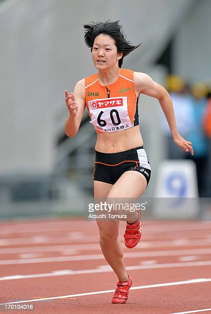 Anna Doi of Japan in action during the Women's 100m sprint during day one of the 97th Japan Track Field Championships at Ajinomoto Stadium on June 7...