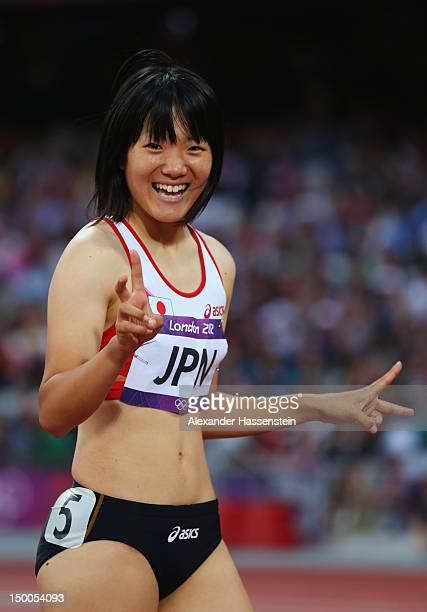 Anna Doi of Japan looks on after competing in the Women's 4 x 100m Relay Round 1 on Day 13 of the London 2012 Olympic Games at Olympic Stadium on...