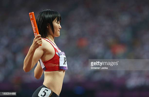 Anna Doi of Japan prepares to compete in the Women's 4 x 100m Relay Round 1 on Day 13 of the London 2012 Olympic Games at Olympic Stadium on August 9...