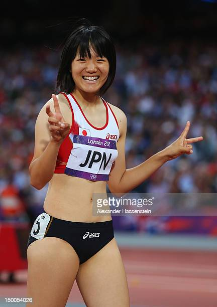 Anna Doi of Japan reacts after competing in the Women's 4 x 100m Relay Round 1 on Day 13 of the London 2012 Olympic Games at Olympic Stadium on...