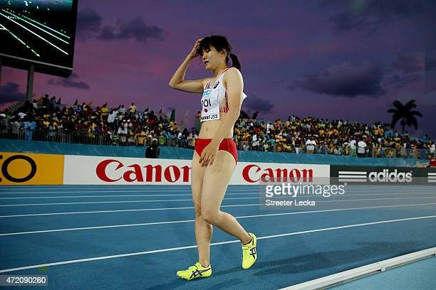 Anna Doi of Japan reacts during round one of the women's 4 x 100 metres on day two of the IAAF/BTC World Relays Bahamas 2015 at Thomas Robinson...