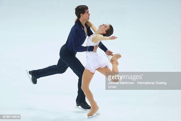 Anna Duskova and Martin Bidar of Czech Republic compete during Junior Pairs Free Skating on day three of the ISU Junior and Senior Grand Prix of...