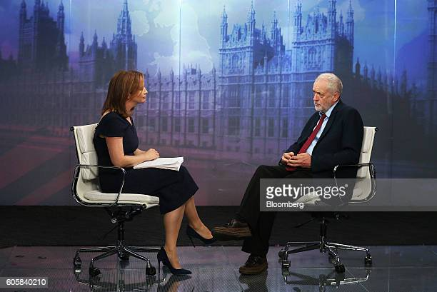 Anna Edwards anchor for Bloomberg Television left speaks with Jeremy Corbyn leader of the UK opposition Labour Party during a Bloomberg Television...