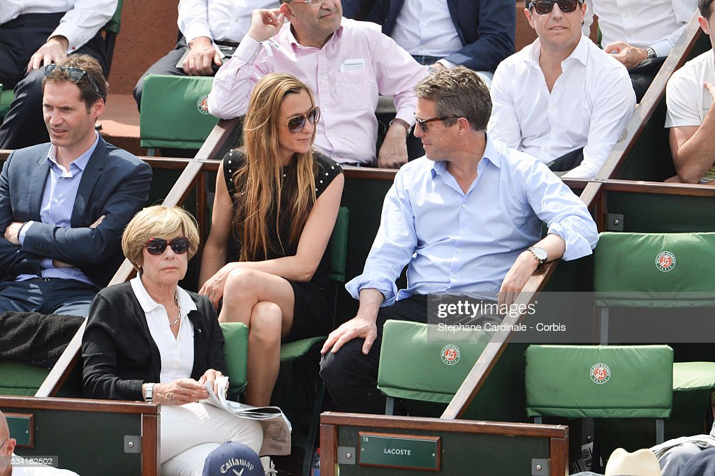 <a gi-track='captionPersonalityLinkClicked' href=/galleries/search?phrase=Anna+Elisabet+Eberstein&family=editorial&specificpeople=14626583 ng-click='$event.stopPropagation()'>Anna Elisabet Eberstein</a> and <a gi-track='captionPersonalityLinkClicked' href=/galleries/search?phrase=Hugh+Grant+-+Actor&family=editorial&specificpeople=201817 ng-click='$event.stopPropagation()'>Hugh Grant</a> attend the 2016 French tennis Open day Four at Roland Garros on May 25, 2016 in Paris, France.