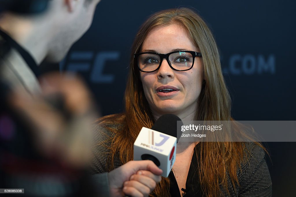 Anna Elmose of Denmark interacts with media during the UFC Ultimate Media Day at the Mainport Hotel on May 6, 2016 in Rotterdam, Netherlands.