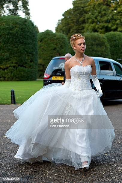 Anna Ermakova arrives at the Queen Charlotte Ball on September 11 2015 in London England Queen Charlotte's Ball is the pinnacle event in the London...