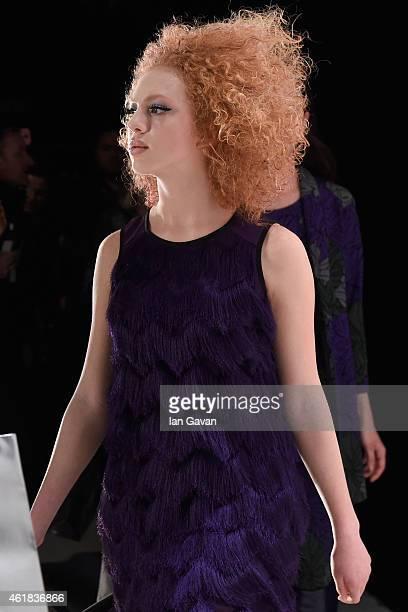 Anna Ermakova is seen backstage ahead of the Riani show during the MercedesBenz Fashion Week Berlin Autumn/Winter 2015/16 at Brandenburg Gate on...