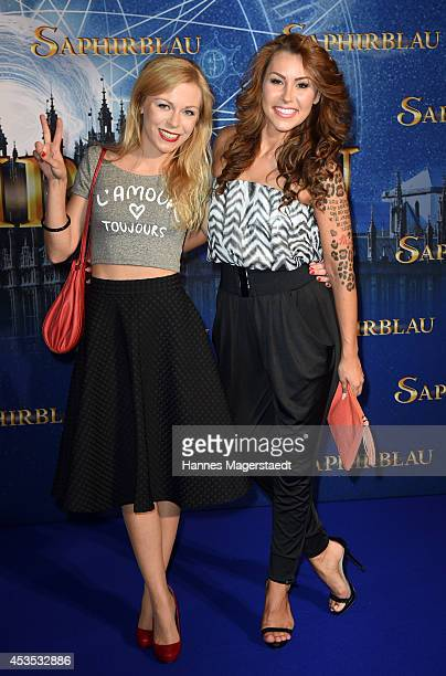 Anna Ewelina and Tiger Kirchharz attend the Munich premiere of the film 'Saphirblau' at Mathaeser Filmpalast on August 12 2014 in Munich Germany