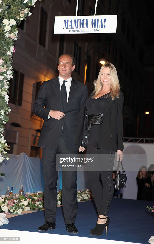 Anna Falchi and fiance attend 'Mamma Mia' Rome Launch at Teatro Brancaccio on October 13 2011 in Rome Italy