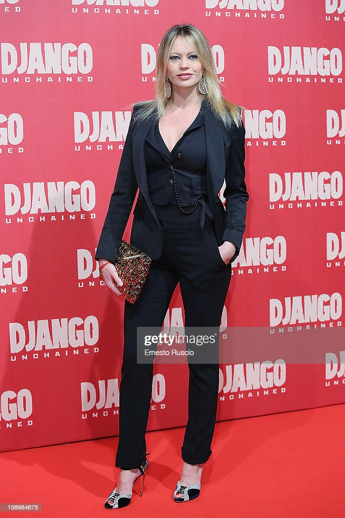 Anna Falchi attends the 'Django Unchained' premiere at Cinema Adriano on January 4, 2013 in Rome, Italy.