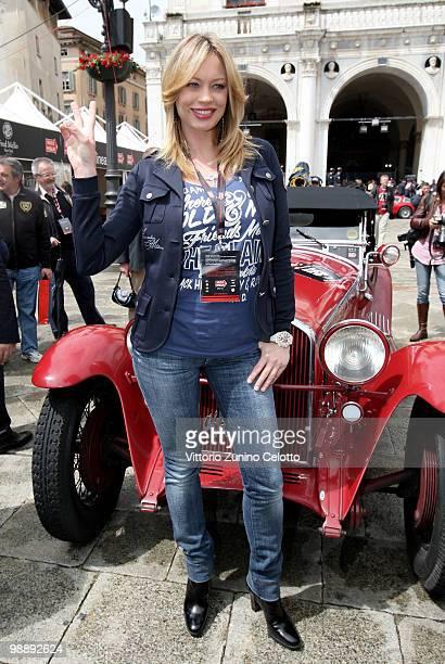 Anna Falchi attends the Mille Miglia 2010 one thousand Mile Historic Race car presentation held at Piazza della Loggia on May 6 2010 in Brescia Italy...