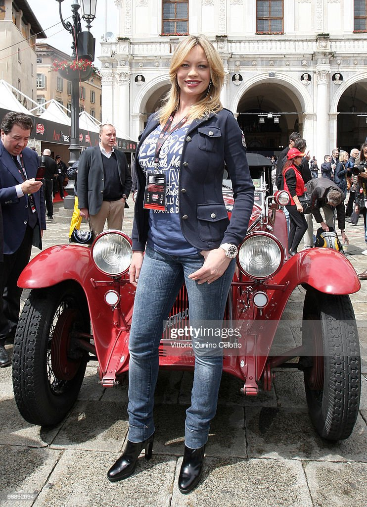 Anna Falchi attends the Mille Miglia 2010 one thousand Mile Historic Race car presentation held at Piazza della Loggia on May 6 2010 in Brescia Italy...