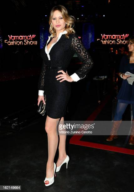 Anna Falchi attends the Yamamay show during Milan Fashion Week Fall/Winter 2013/14 at the Alcatraz on February 19 2013 in Milan Italy