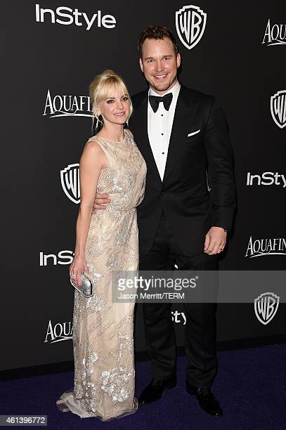 Anna Faris and Chris Pratt attend the 2015 InStyle And Warner Bros 72nd Annual Golden Globe Awards PostParty at The Beverly Hilton Hotel on January...
