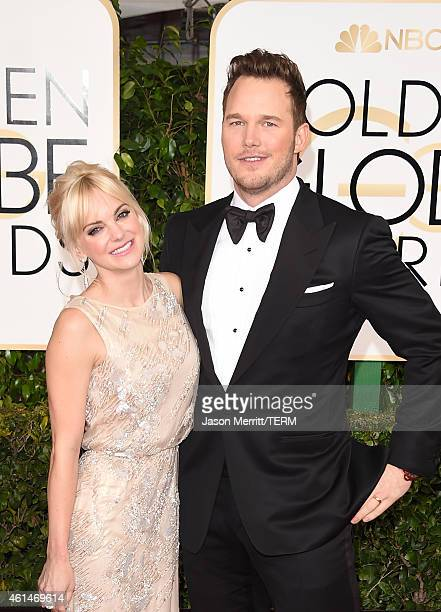 Anna Faris and Chris Pratt attend the 72nd Annual Golden Globe Awards at The Beverly Hilton Hotel on January 11 2015 in Beverly Hills California