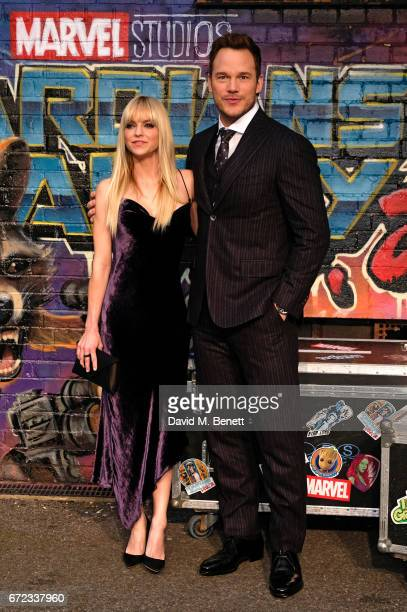 Anna Faris and Chris Pratt attend the European Gala screening of 'Guardians of the Galaxy Vol 2' at the Eventim Apollo on April 24 2017 in London...