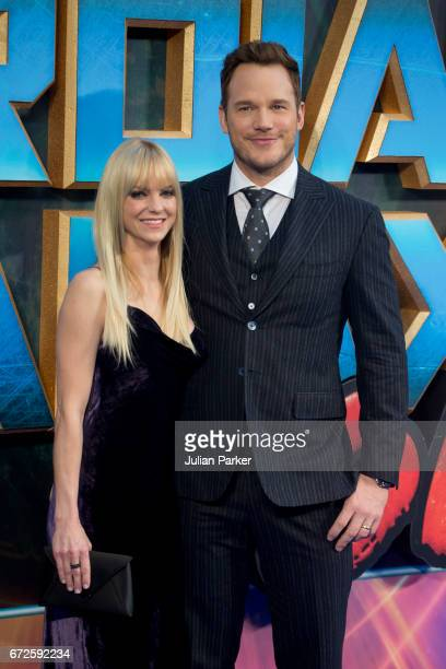 Anna Faris and Chris Pratt attend the European Gala Screening of 'Guardians of the Galaxy Vol 2' at Eventim Apollo on April 24 2017 in London United...