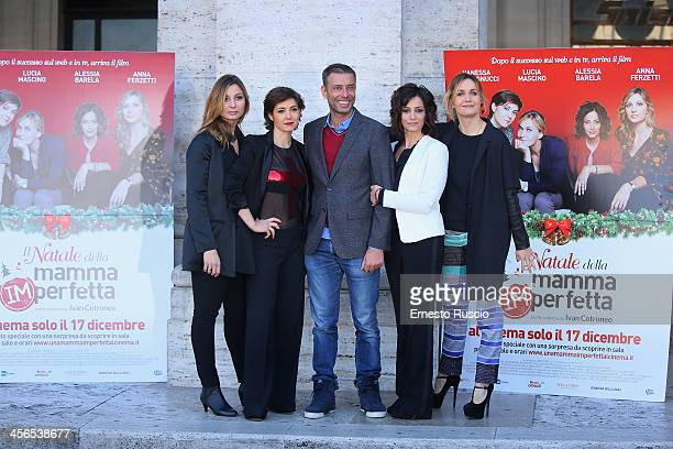 Anna Farzetti Vanessa Compagnucci Ivan Cotroneo Alessia Barela and Lucia Mascino attend the 'Il Natale Della Mamma Imperfetta' photocall at Space...