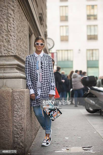 Anna Fasano wears a MSGM outfit on Day 5 of Milan Fashion Week FW15 on March 1 2015 in Milan Italy