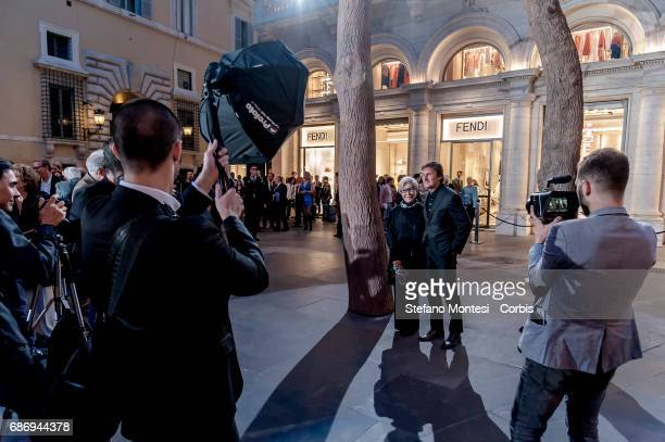 Anna Fendi e Pietro Beccari Chairman and Ceo of Fendi during the presentation the maison Fendi that presents the pays homage to Rome with a...