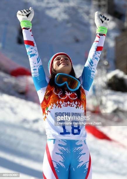 Anna Fenninger of Austria celebrates after winning the gold medal during the Alpine Skiing Women's SuperG at the Sochi 2014 Winter Olympic Games at...